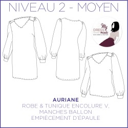 Pattern Auriane - Dress - 34/48 (US/UK: 2/6, 16/20) - Intermediate