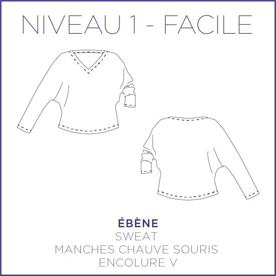 Patron Ebène - Sweat - S/XL - Facile