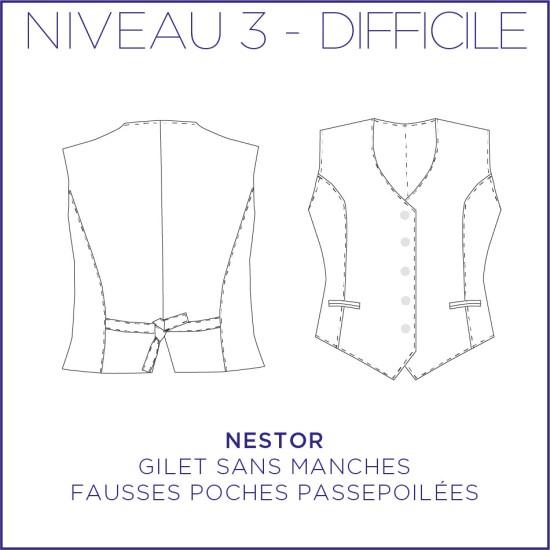 Pattern Nestor - Vest - 34/48 (US/UK: 2/6, 16/20) - Advanced